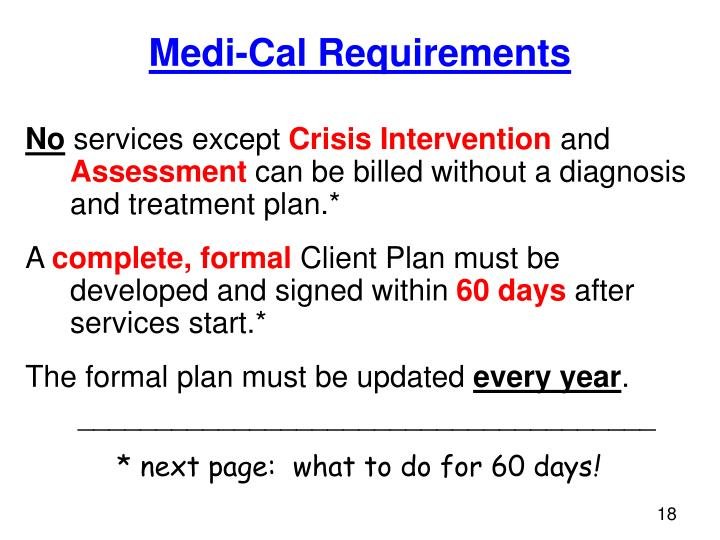 Medi-Cal Requirements