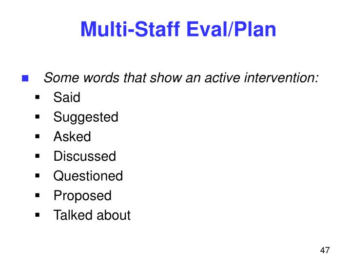 Multi-Staff Eval/Plan