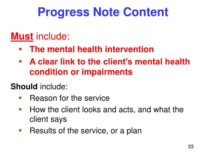 Progress Note Content