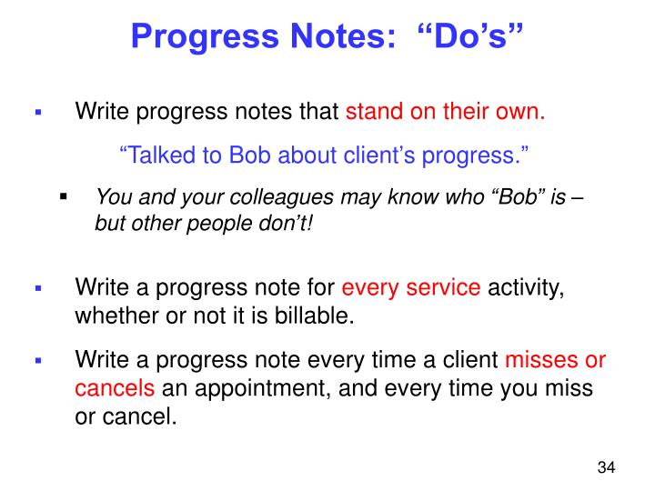"Progress Notes:  ""Do's"""