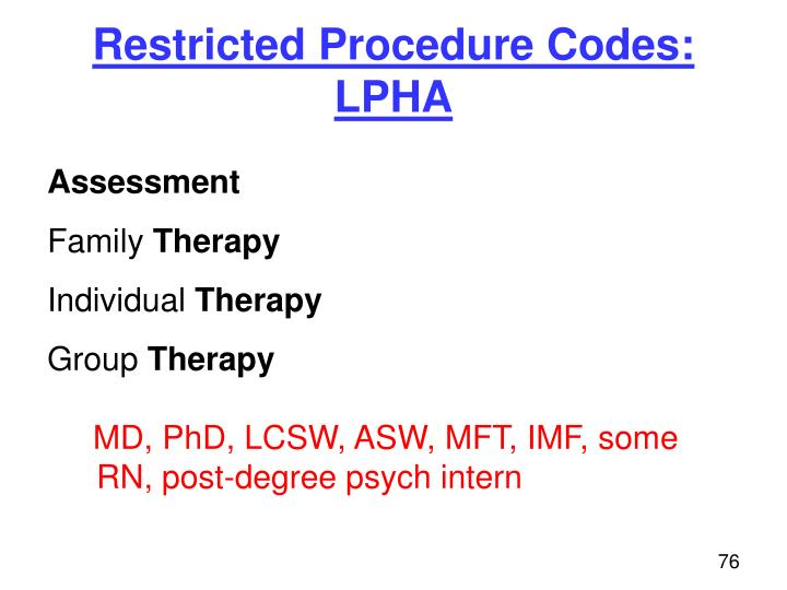 Restricted Procedure Codes:  LPHA