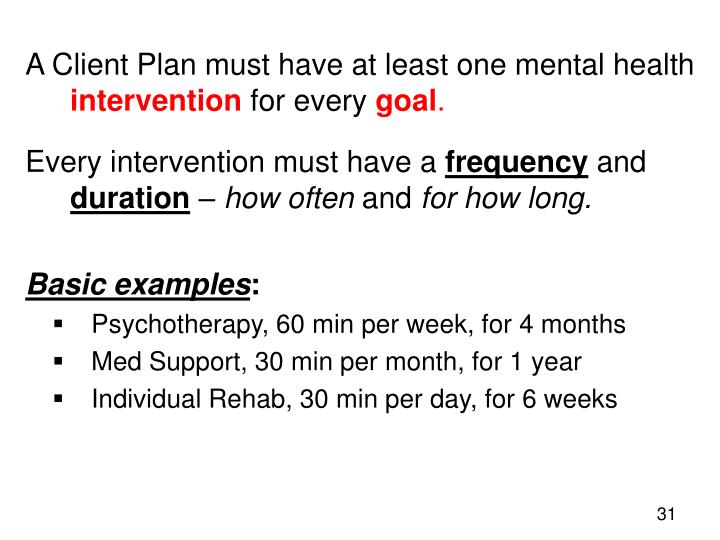 A Client Plan must have at least one mental health