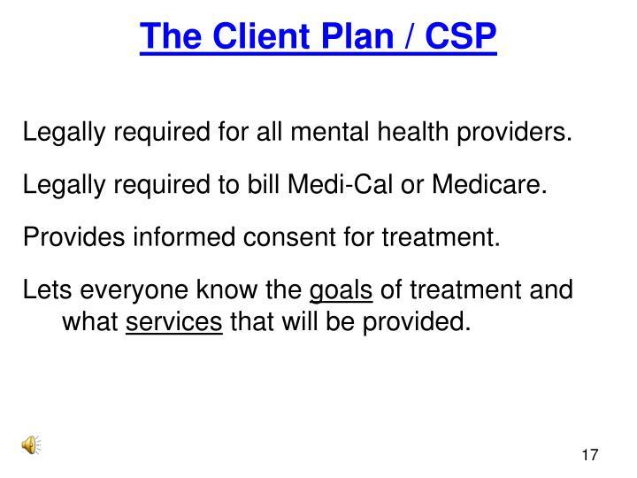 The Client Plan / CSP
