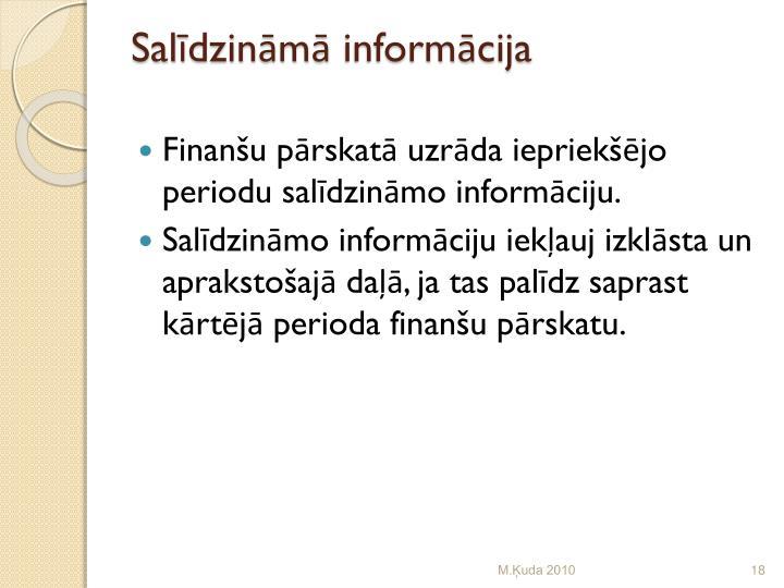 Salīdzināmā informācija