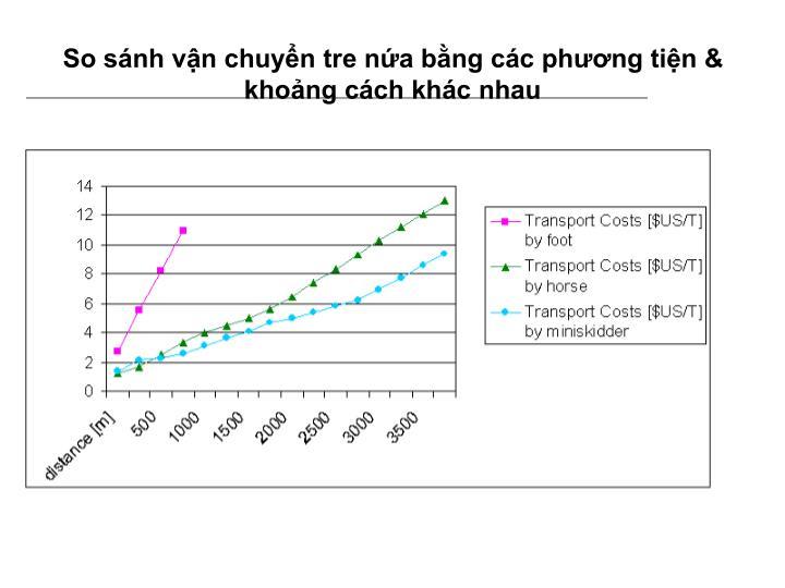 So sánh vận chuyển tre nứa bằng các phương tiện & khoảng cách khác nhau