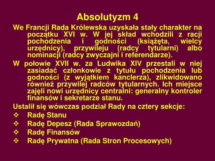 Absolutyzm 4