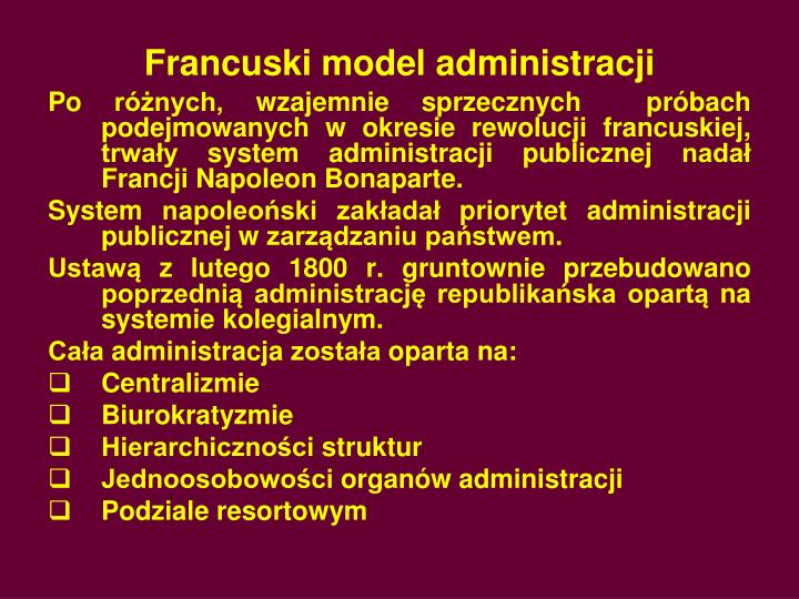 Francuski model administracji