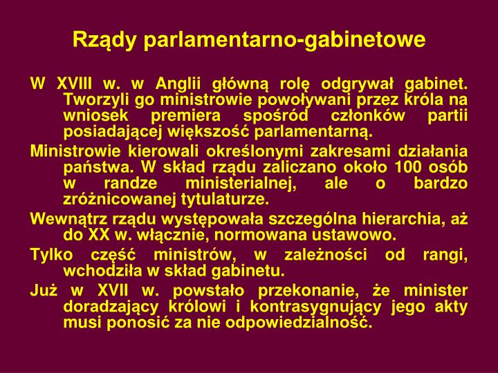 Rządy parlamentarno-gabinetowe