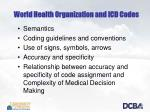 world health organization and icd codes