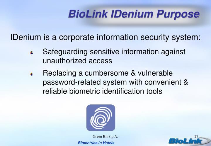 BioLink IDenium Purpose