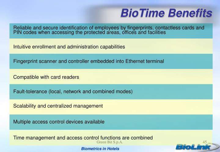 BioTime Benefits