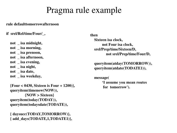 Pragma rule example