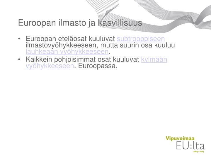 Euroopan ilmasto ja kasvillisuus