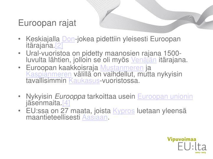 Euroopan rajat