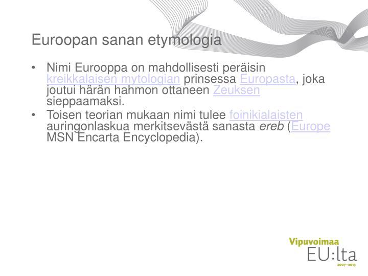 Euroopan sanan etymologia