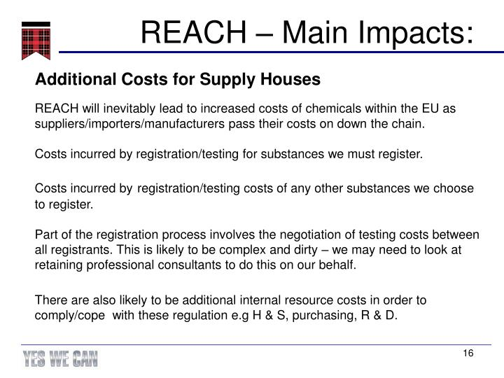 REACH – Main Impacts: