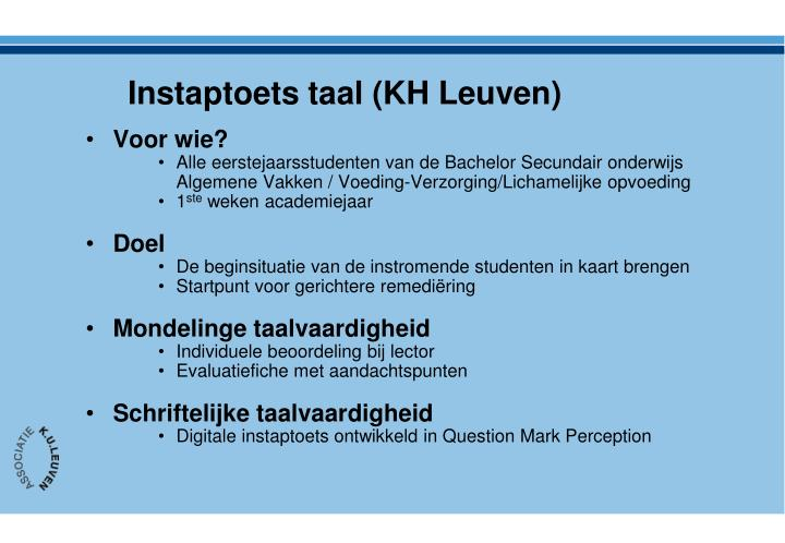 Instaptoets taal (KH Leuven)