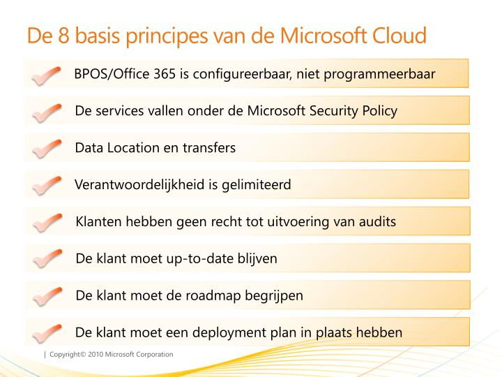 De 8 basis principes van de microsoft cloud
