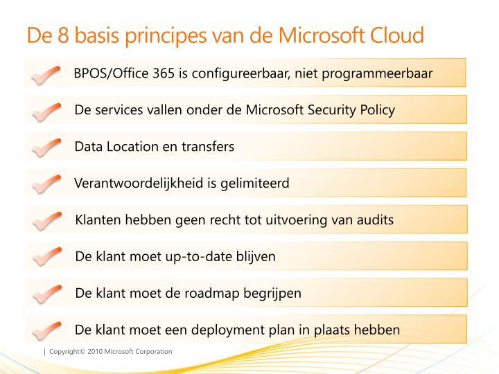 De 8 basis principes van de Microsoft Cloud