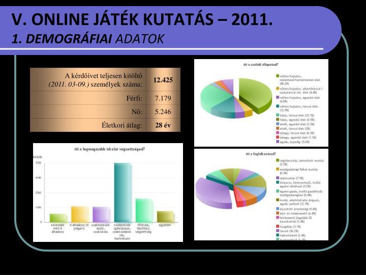 V. ONLINE JÁTÉK KUTATÁS – 2011.