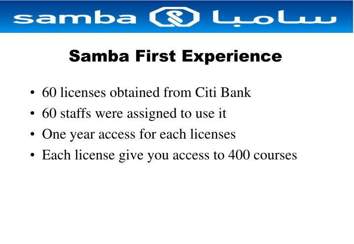 Samba First Experience