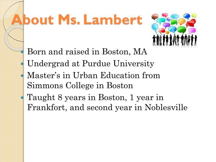 About Ms. Lambert