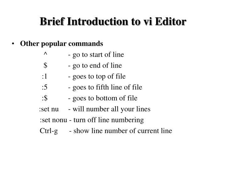 Brief Introduction to vi Editor