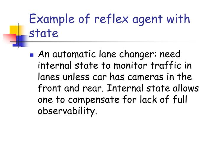 Example of reflex agent with state