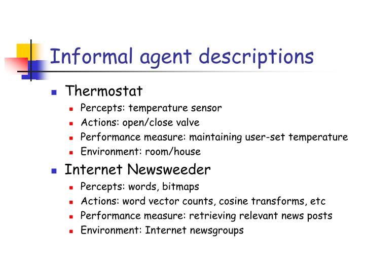 Informal agent descriptions
