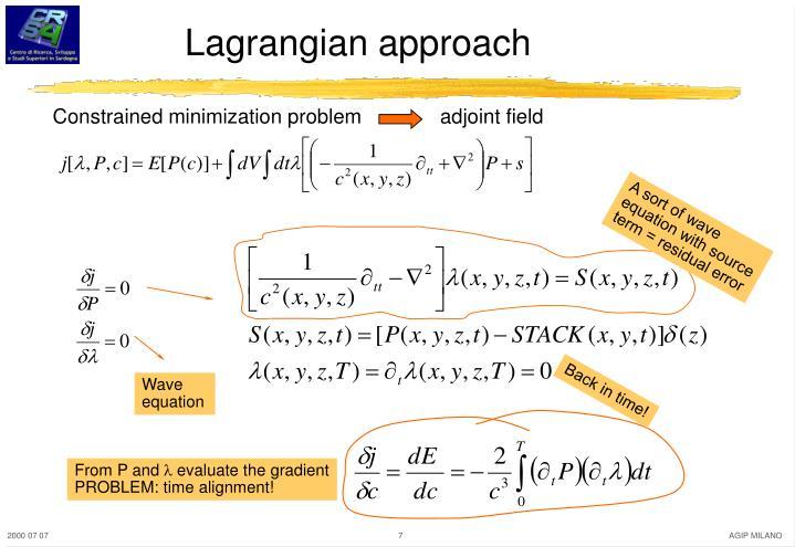 Lagrangian approach