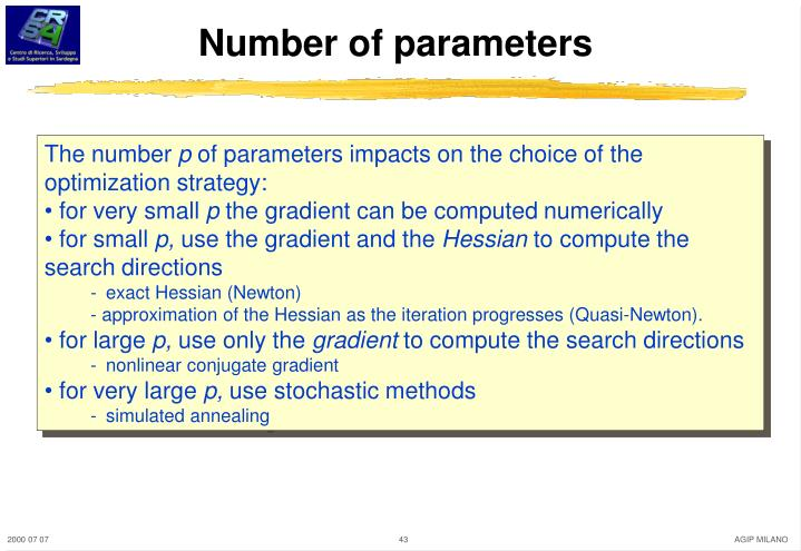 Number of parameters