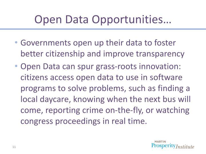 Open Data Opportunities…