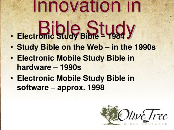 Innovation in Bible Study