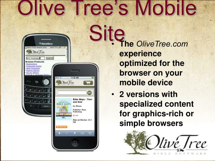 Olive Tree's Mobile Site