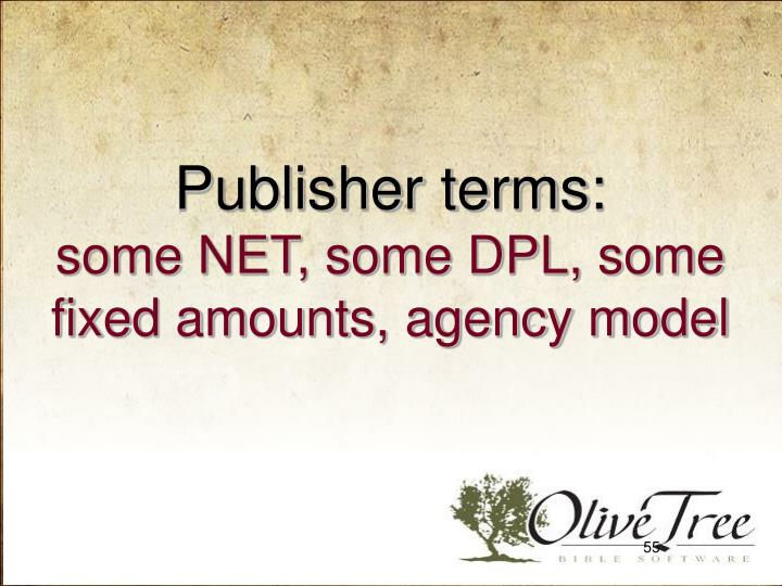 Publisher terms: