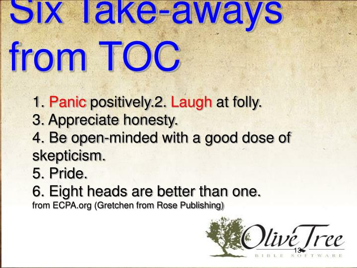 Six Take-aways from TOC