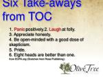 six take aways from toc
