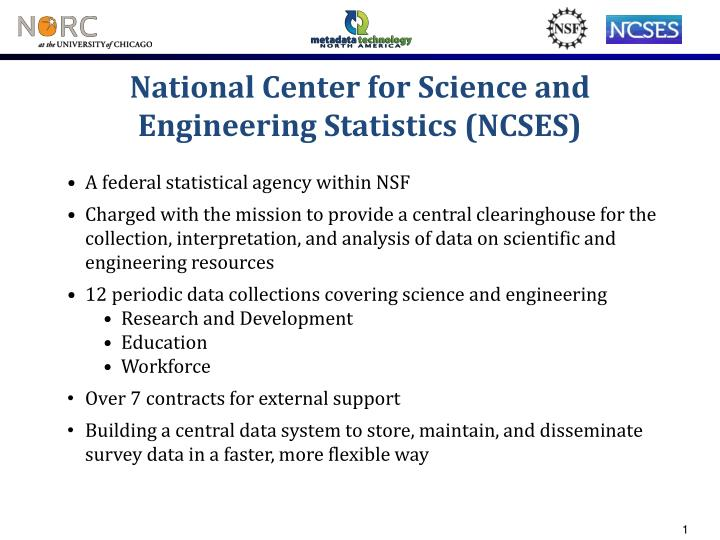 National center for science and engineering statistics ncses