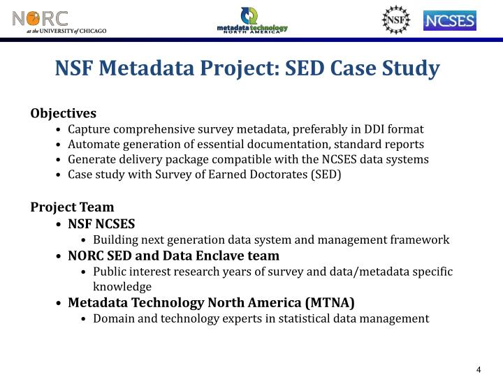 NSF Metadata Project: SED