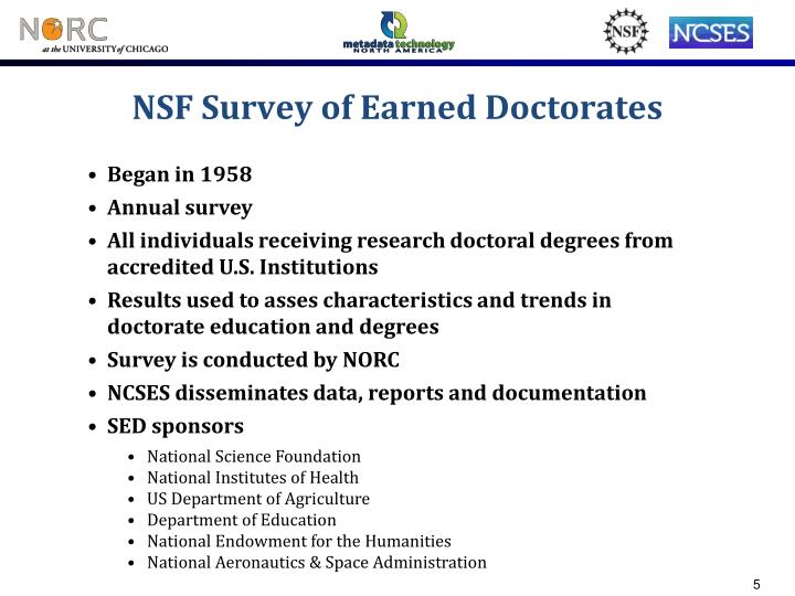 NSF Survey of Earned Doctorates