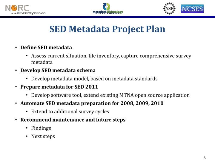 SED Metadata Project Plan