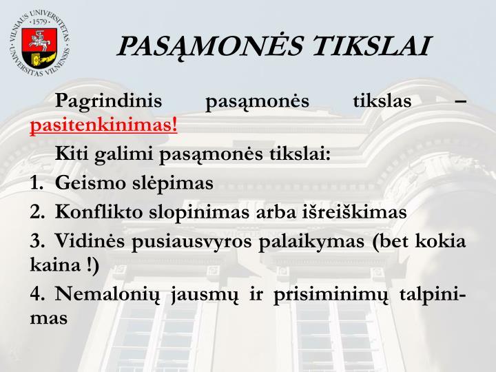 PASĄMONĖS TIKSLAI