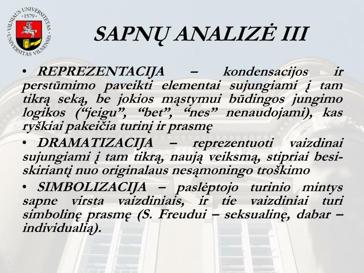 SAPNŲ ANALIZĖ III