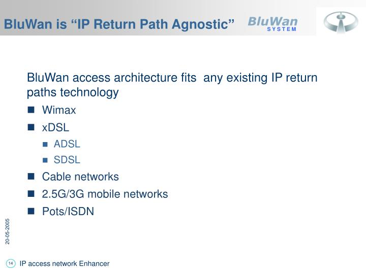 "BluWan is ""IP Return Path Agnostic"""