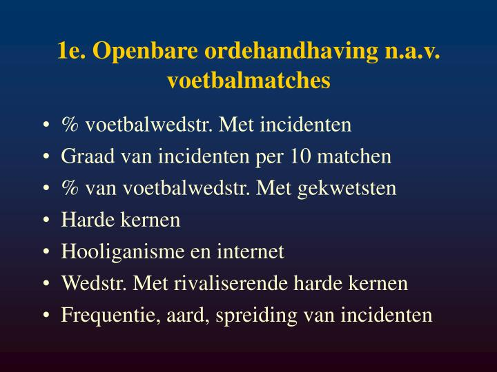 1e. Openbare ordehandhaving n.a.v. voetbalmatches