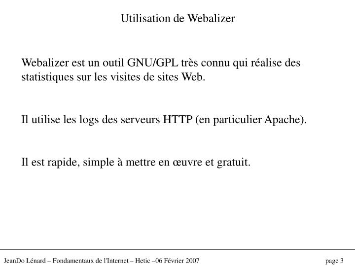 Utilisation de Webalizer