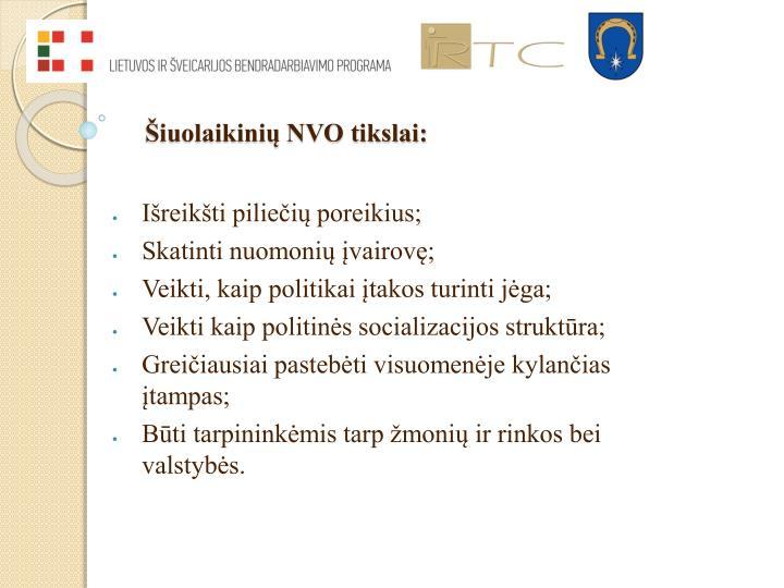 Šiuolaikinių NVO tikslai: