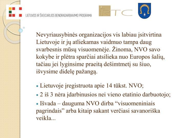 Nevyriausybinės organizacijos vis labiau įsitvirtina Lietuvoje ir jų atliekamas vaidmuo tampa daug svarbesnis mūsų visuomenėje. Žinoma, NVO savo kokybe ir plėtra sparčiai atsilieka nuo Europos šalių, tačiau jei lyginsime praeitą dešimtmetį su šiuo, išvysime didelę pažangą.