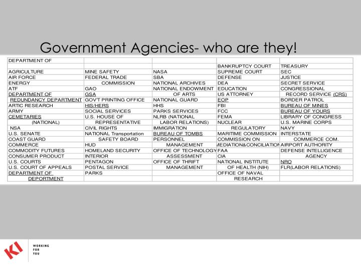 Government Agencies- who are they!