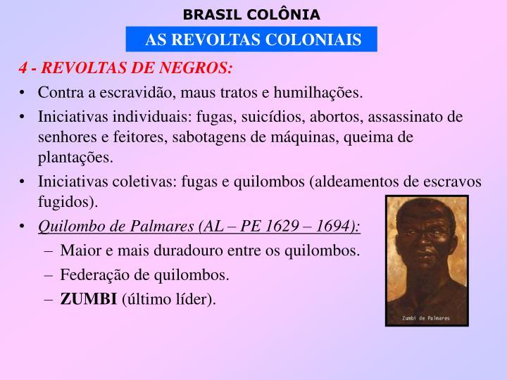 4 - REVOLTAS DE NEGROS: